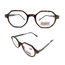 Men's octagonal eyewear for reading plastic frame with metal temple