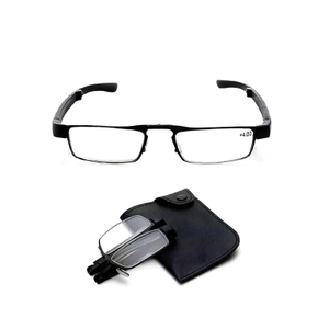 Foldable reading glasses with pouch