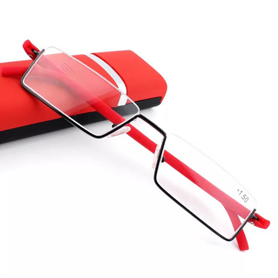 Metal half-frame reading glasses with case