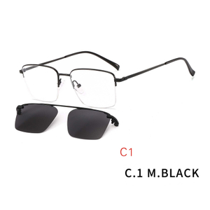 2 In1 Magnet Clip On Sun Glasses For Men UV400 Square Magnet Clip On Sunglasses Men Myopia Half frame Optical Prescription Eyeglasses