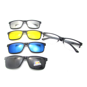 Tr90 4 In 1 Men Women eyewear Magnet Polarized Sunglasses Interchangeable Magnetic Clip On Glasses