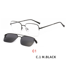 2 In1 Square Magnet Clip On Sunglasses Men Myopia Half frame Optical Prescription Eyeglasses