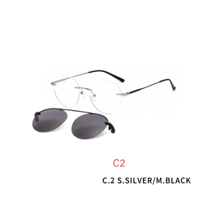 2 In 1 Clip On Sunglasses Rimless Optic Round Glasses Magnet Prescription Glasses Frame for Myopia Lenses