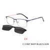 2 In 1 Magnet Clip On Sunglasses Men Metal Square Shades Sun Glasses Optical Myopia Eyeglasses Frame