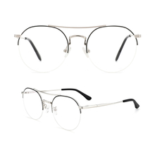 Metal Round Half Frame Eyeglass Frames Classic Glasses Clear Lens Non Prescription Half Rimless Metal Frame Eyewear Men Women