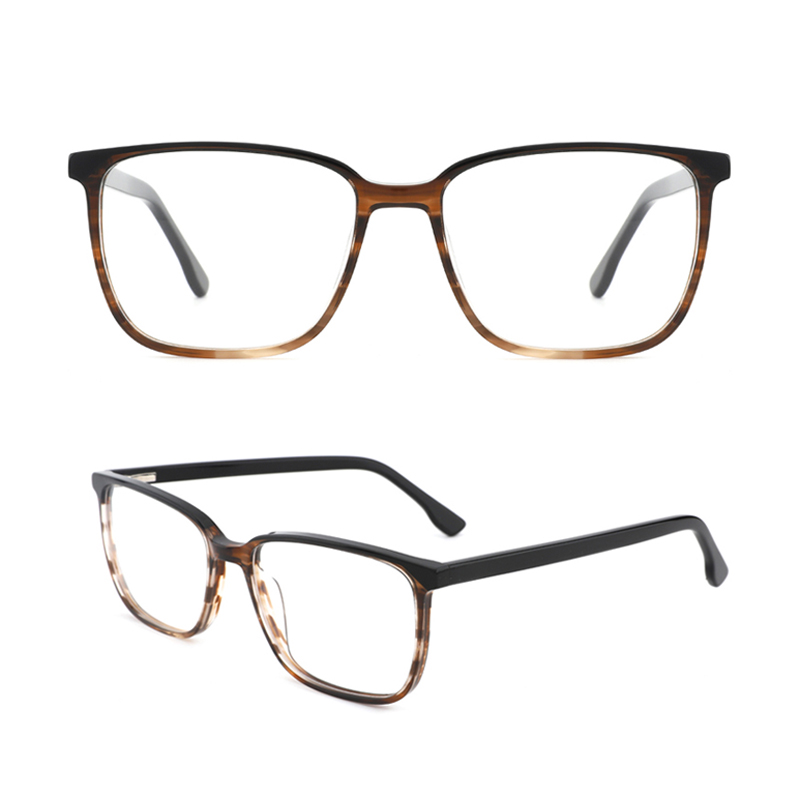 Womens Rectangle Optical Frame Mens Fashion Stylish Acetate Eyewear Frame With Clear Lens