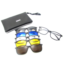 5+1 suit Fashion Clip On Sunglasses Women Frames Clips Magnetic Sunglasses Magnet eyeglasses men Clip glasses with Bag