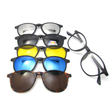 5 In 1 Swappable Magnet Clip-On Clips On Polarizedc Sun Glasses Frame Eyewear Sunglasses with Bag