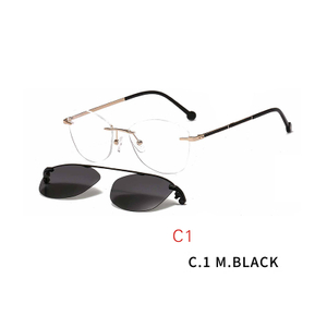 2 In 1 Men Women Polarized Optical Magnetic Sunglasses Clip Magnet Clip on Sunglasses Rimless Optical Frame