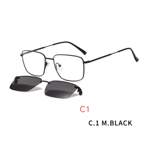 2 In1 Optical Spectacle Frame Men With Clip On Sunglasses Polarized Magnetic Glasses